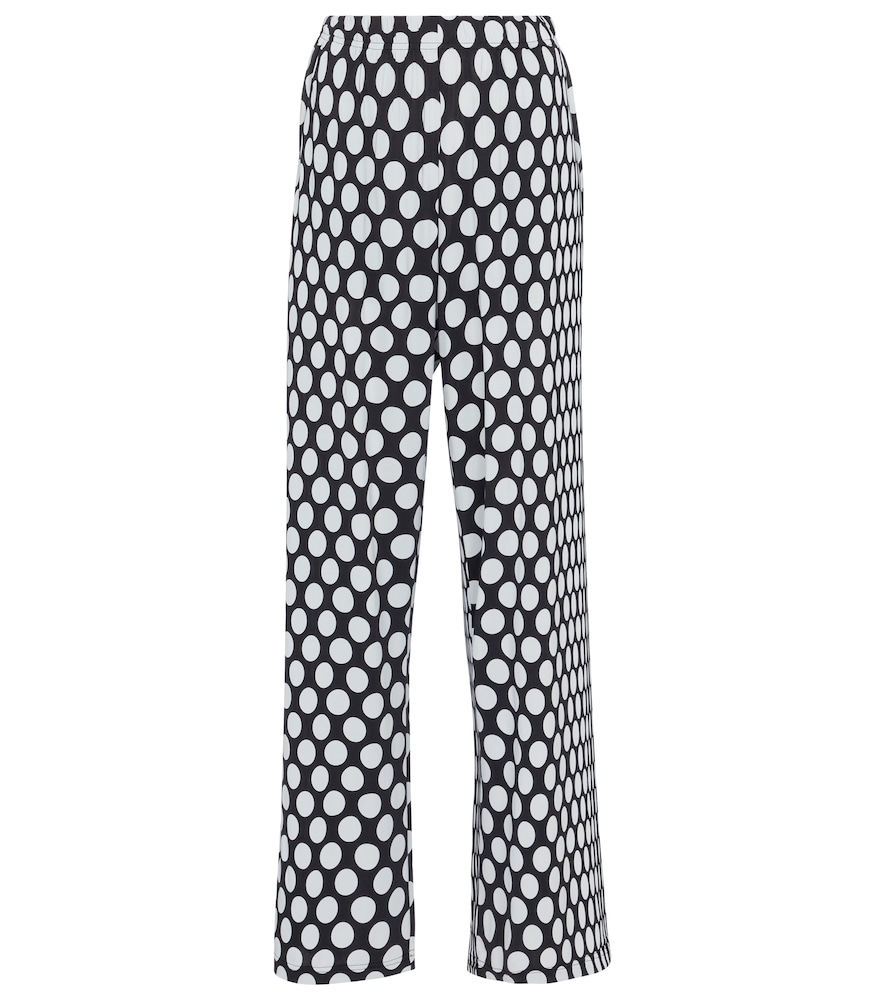 Mm6 Maison Margiela POLKA-DOT HIGH-RISE WIDE-LEG PANTS