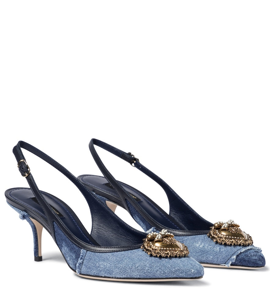 Dolce & Gabbana DEVOTION DENIM SLINGBACK PUMPS