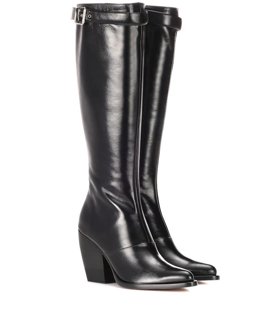 Chlo 201 Rylee 90mm Block Heel Buckle Knee Boot In Black