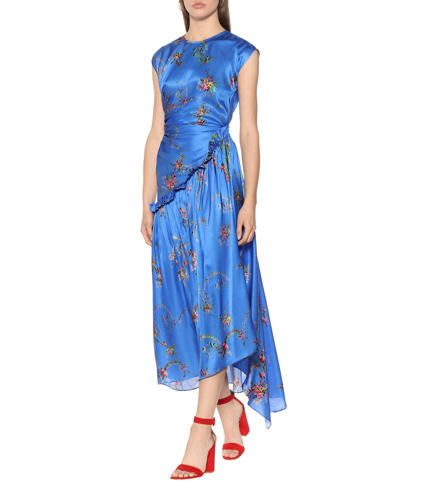 Andrea floral satin midi dress by Preen by Thornton Bregazzi