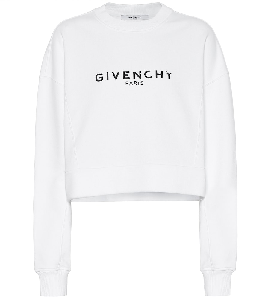 Givenchy Logo-Print Cropped Cotton-Jersey Sweatshirt In White