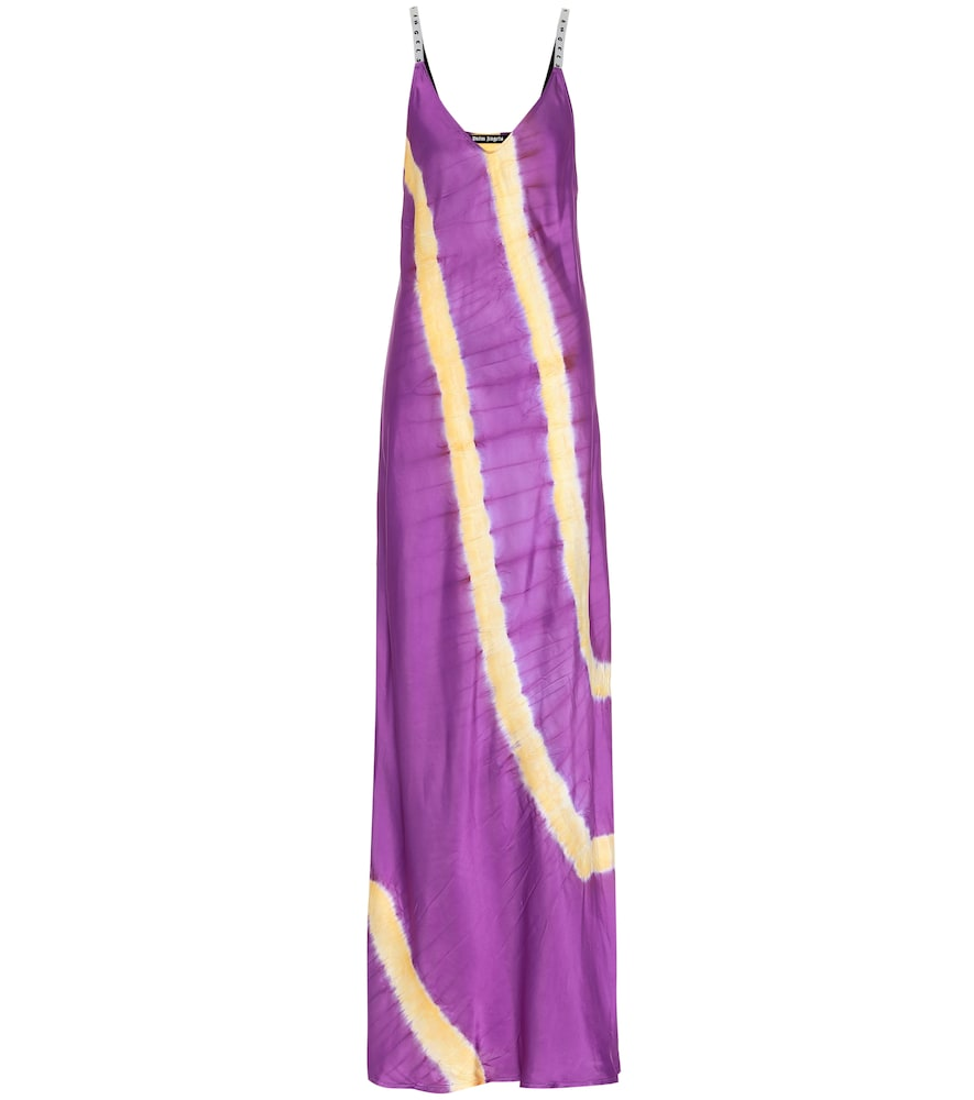 Robe longue imprimée en satin - Palm Angels - Modalova