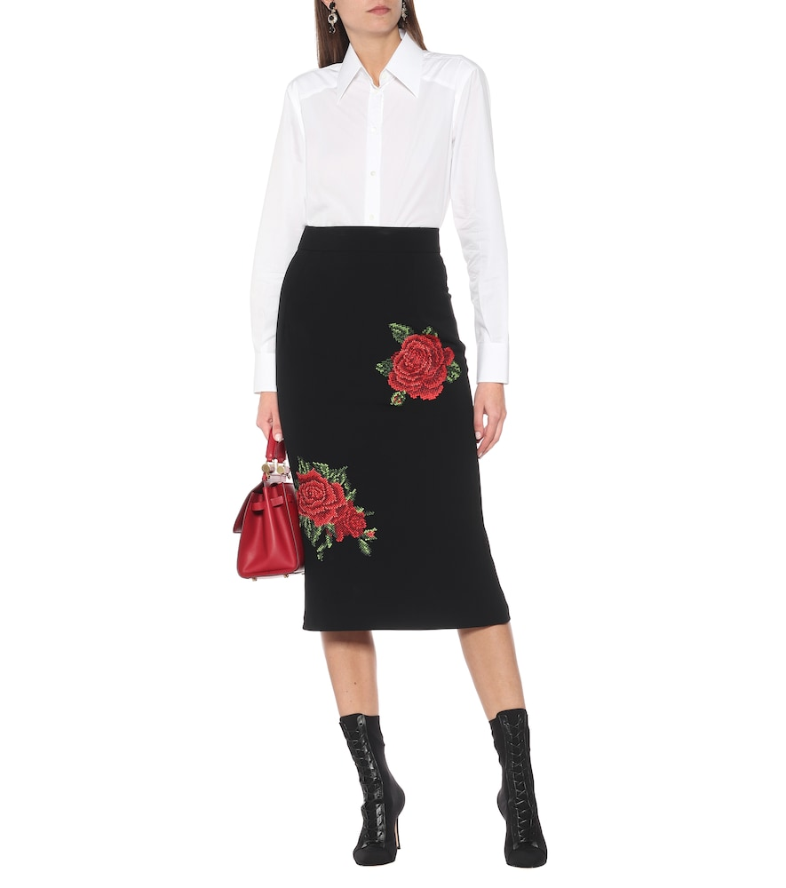 DOLCE & GABBANA Pencil skirts EMBROIDERED CRÊPE PENCIL SKIRT