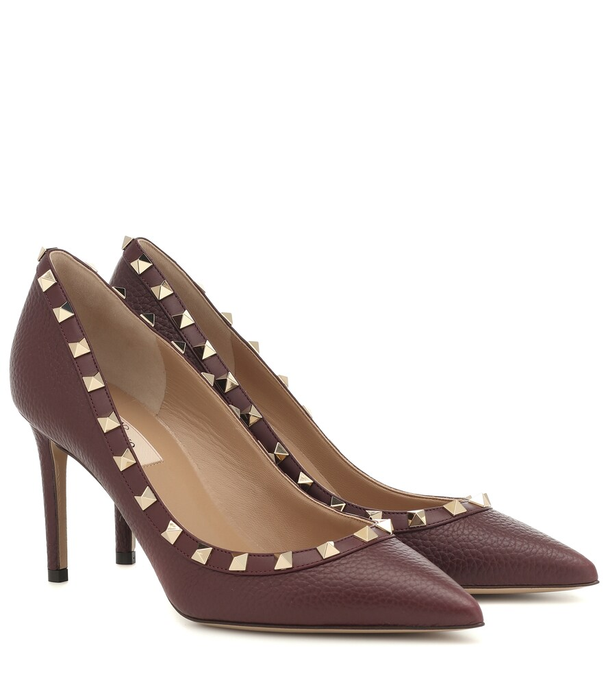 Valentino Rockstud Leather Pumps In Purple