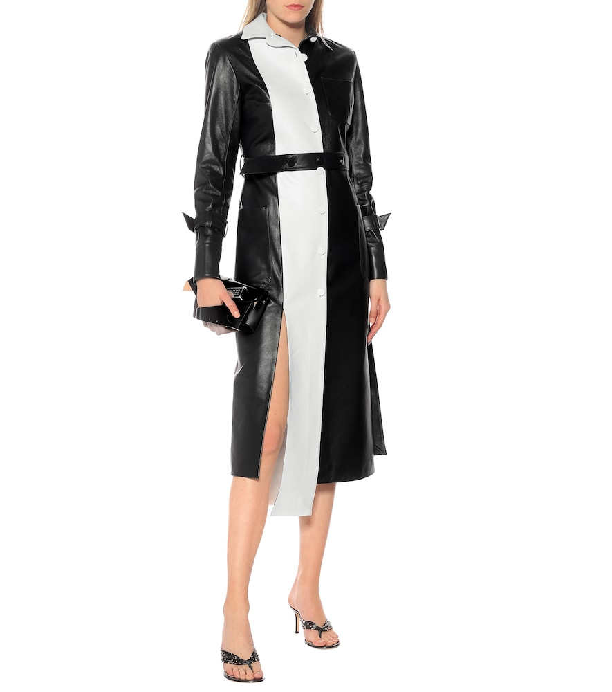 Paneled leather trench coat by Rokh
