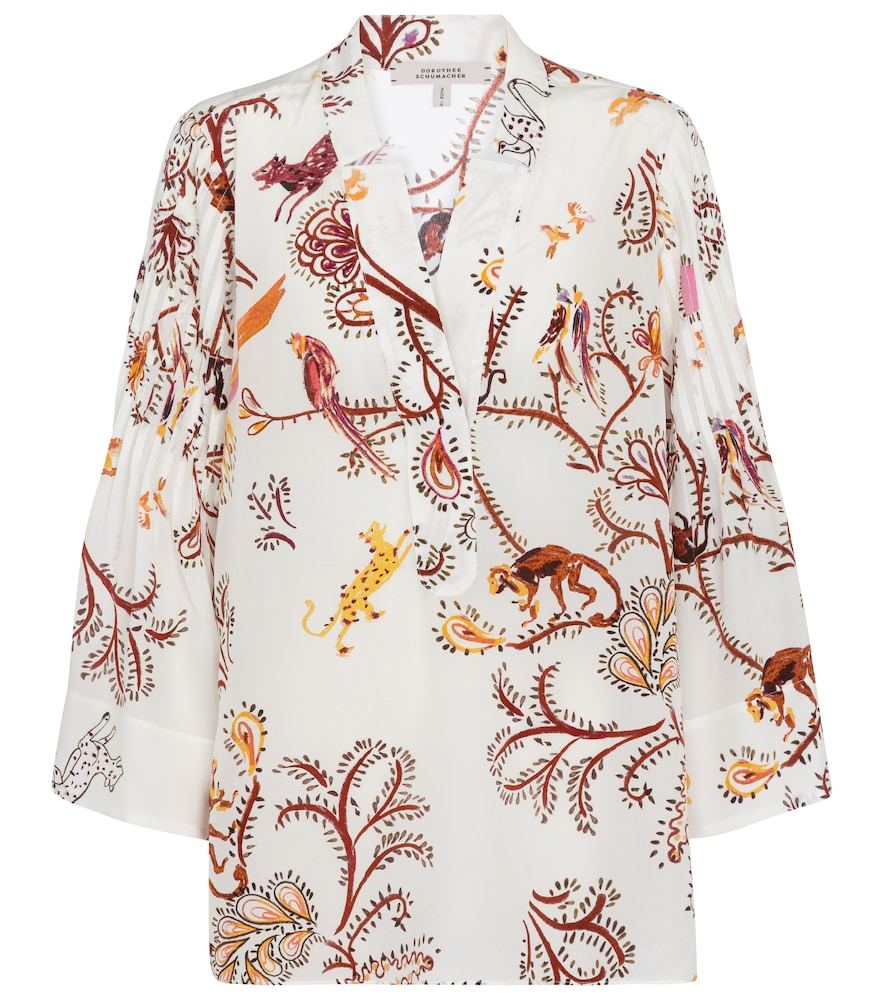 DOROTHEE SCHUMACHER TREE OF LIFE FLORAL SILK BLOUSE