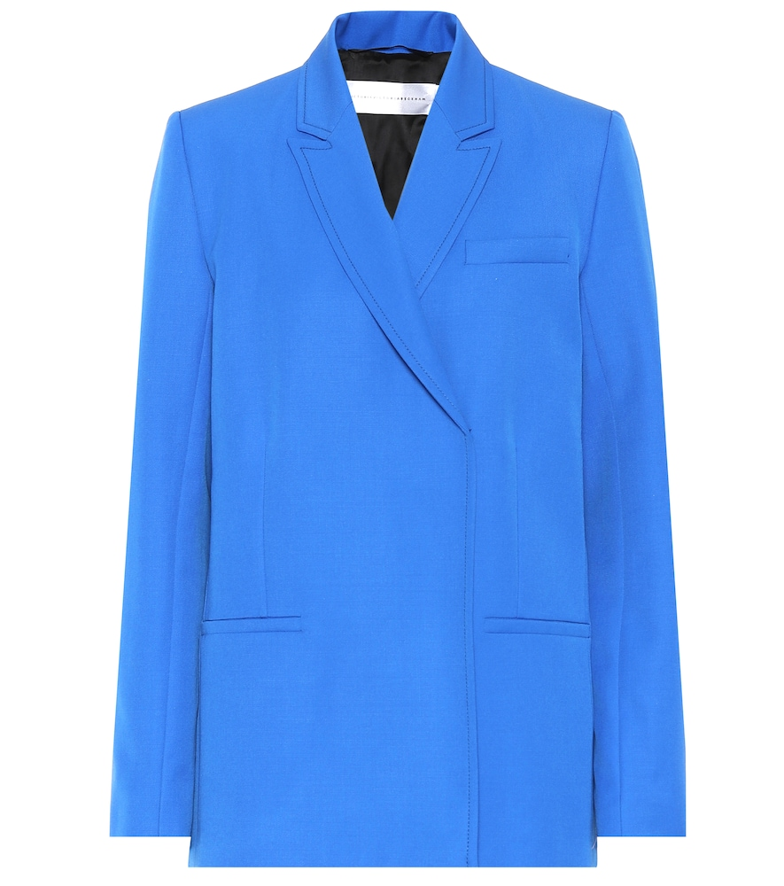VICTORIA VICTORIA BECKHAM Wool Double-Breasted Blazer in Blue