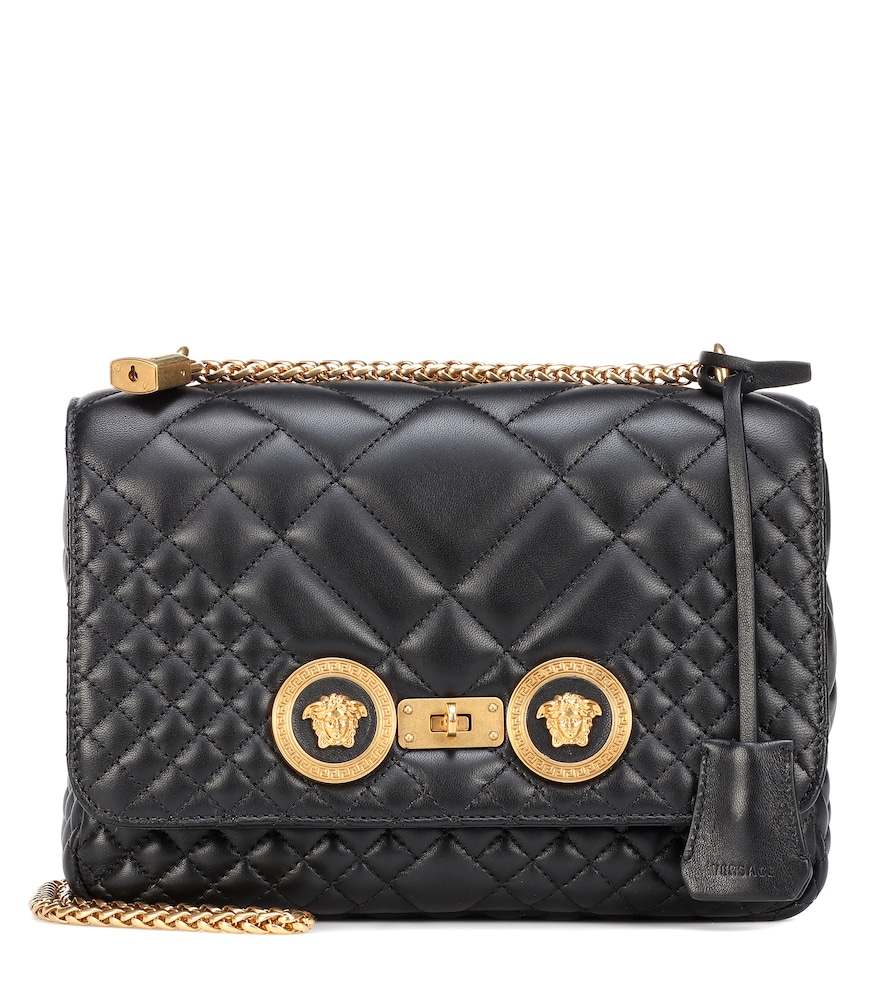 Medium Icon Quilted Leather Shoulder Bag in Black