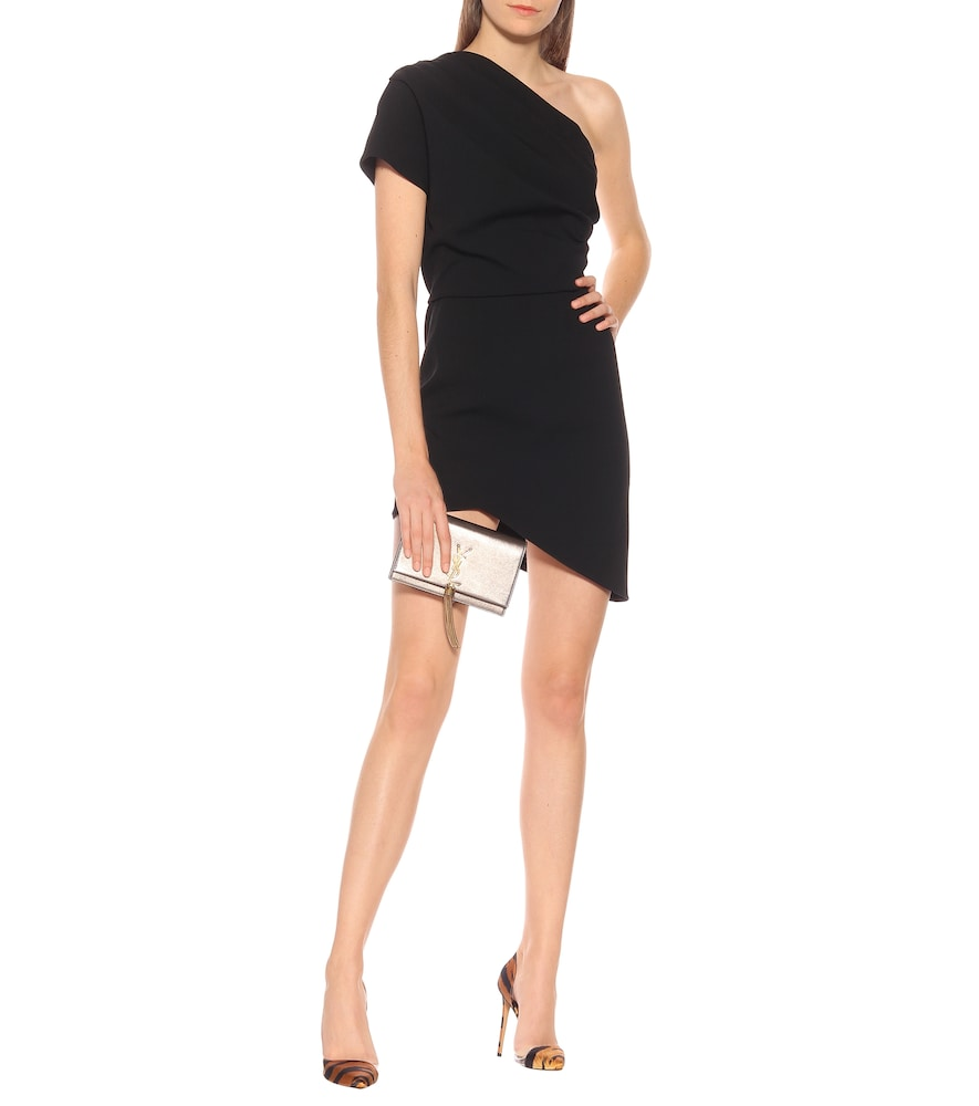 One-shoulder cr?e minidress by Saint Laurent