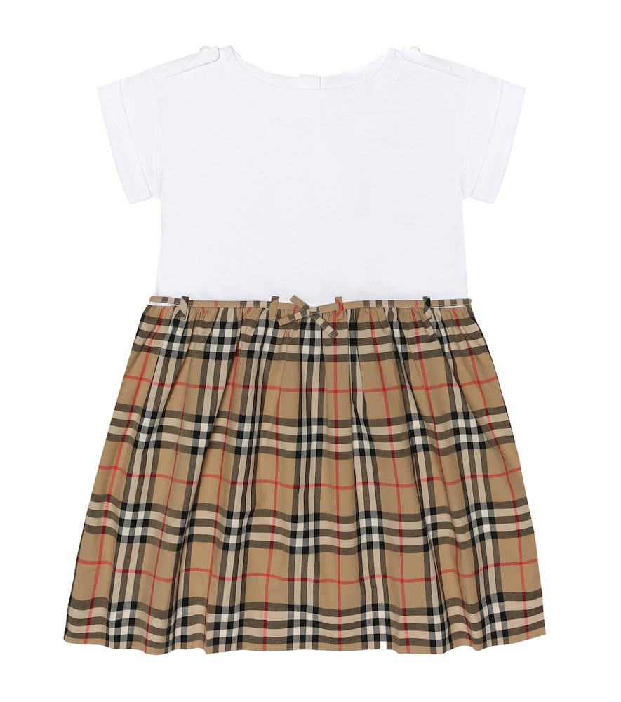 Burberry Kids' Girl's Rhonda Jersey & Check Poplin Dress In Multicoloured