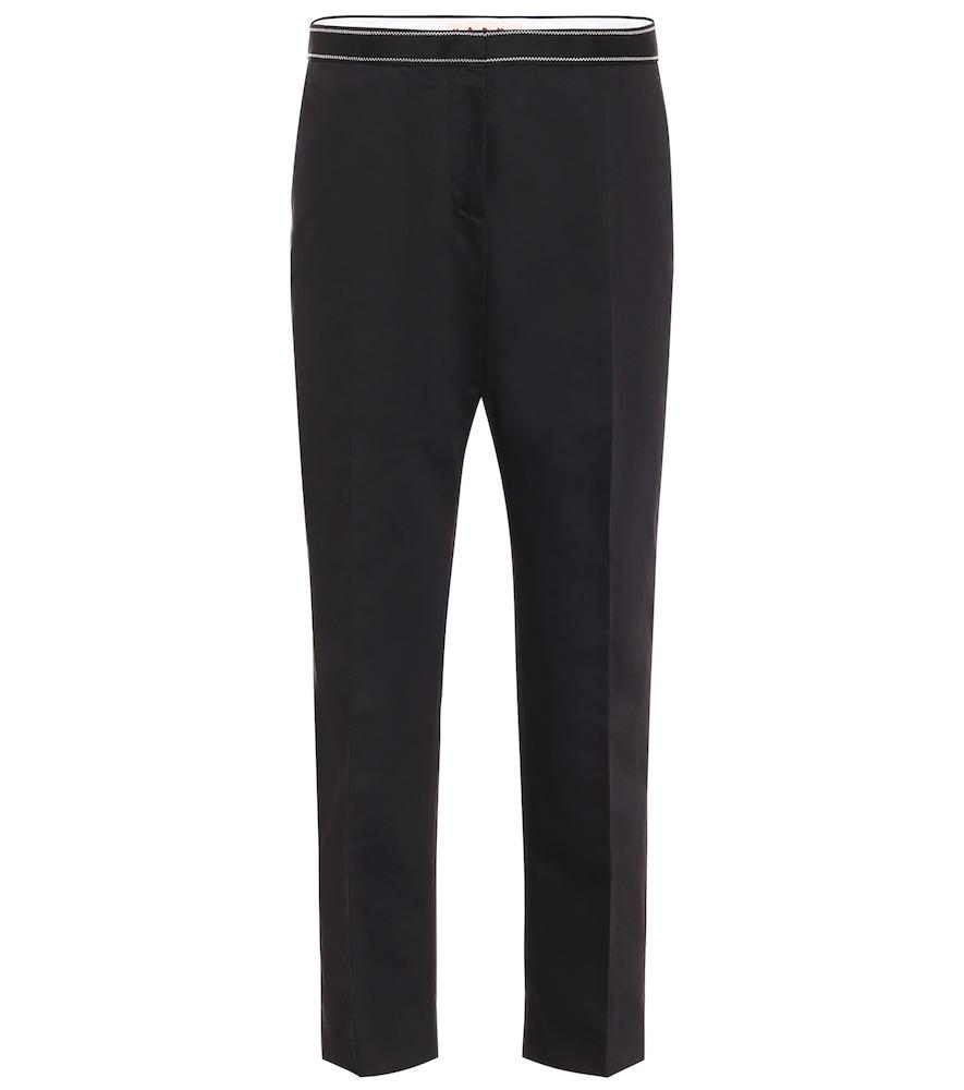 Pantalon à taille haute en coton et lin - Marni - Modalova