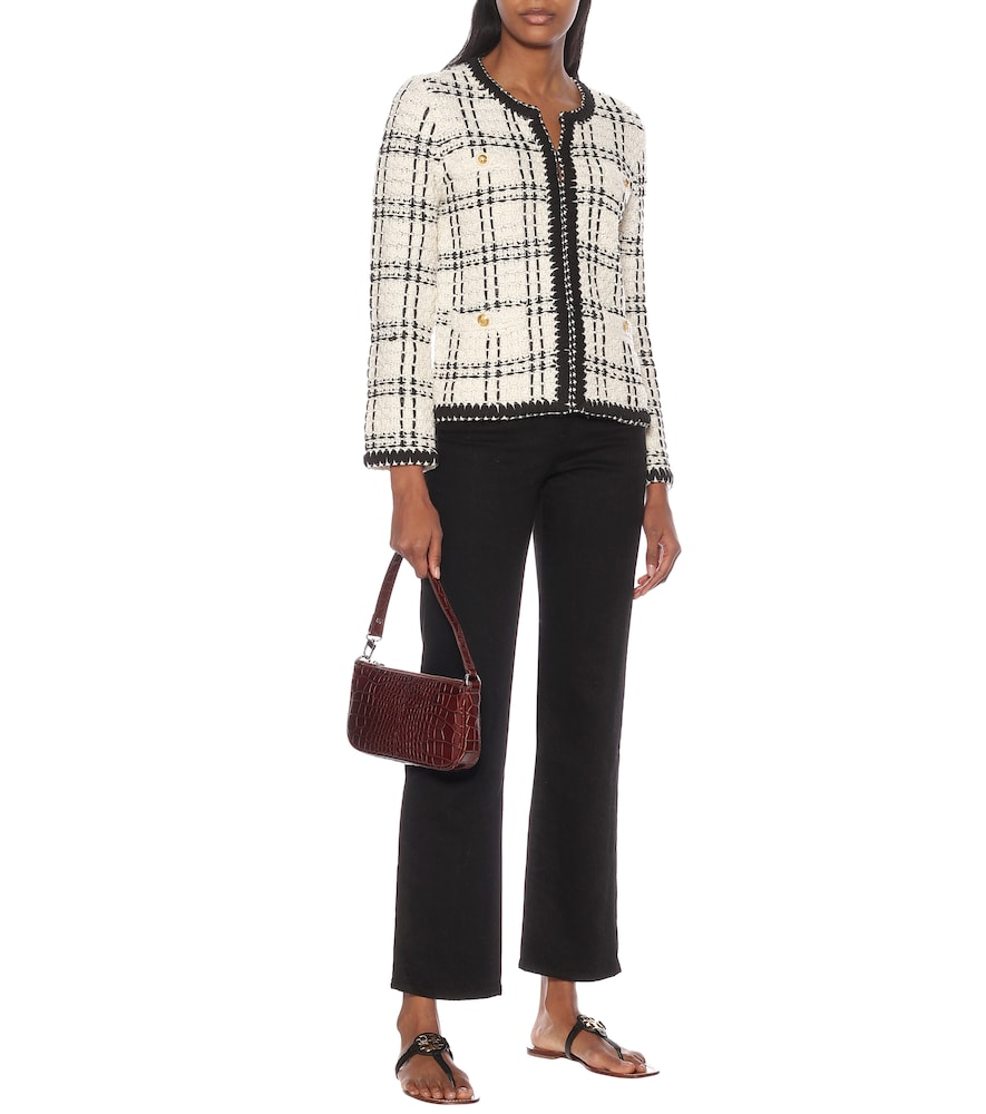 Kendra linen-blend tweed jacket by Tory Burch