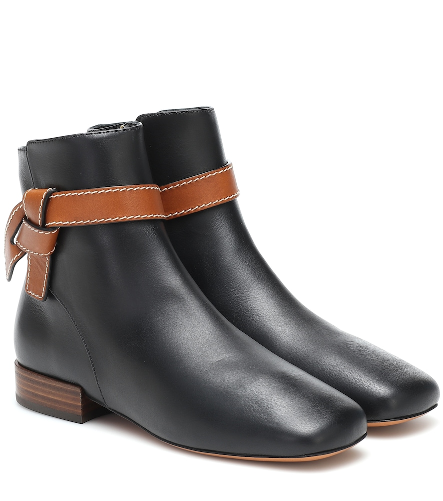 Loewe Gate Topstitched Two-tone Leather Ankle Boots In Black