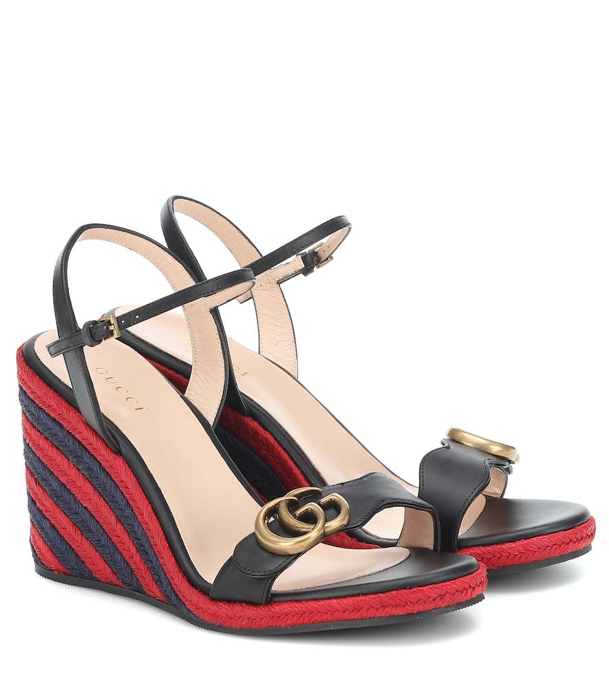 GG leather wedge espadrille sandals