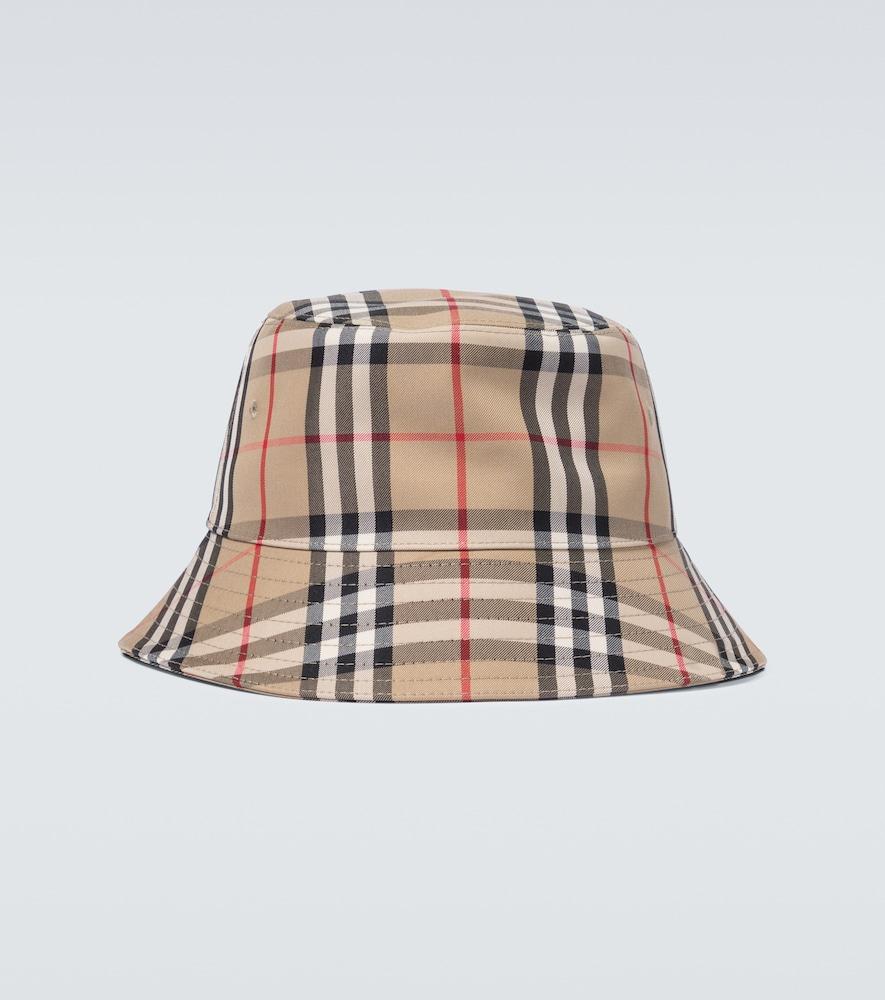 Burberry Vintage Check Cotton Blend Bucket Hat In Beige