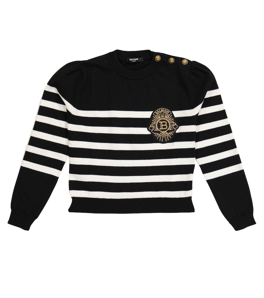 Balmain STRIPED COTTON-BLEND SWEATER