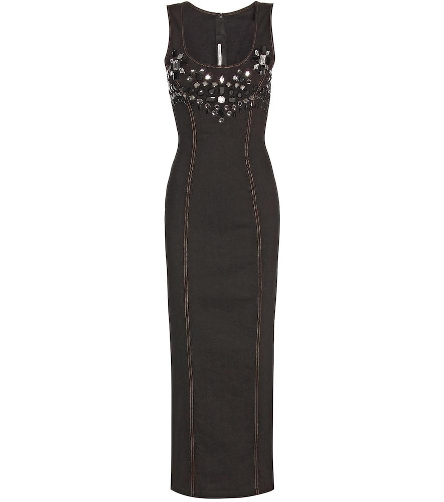 Embellished cotton twill midi dress