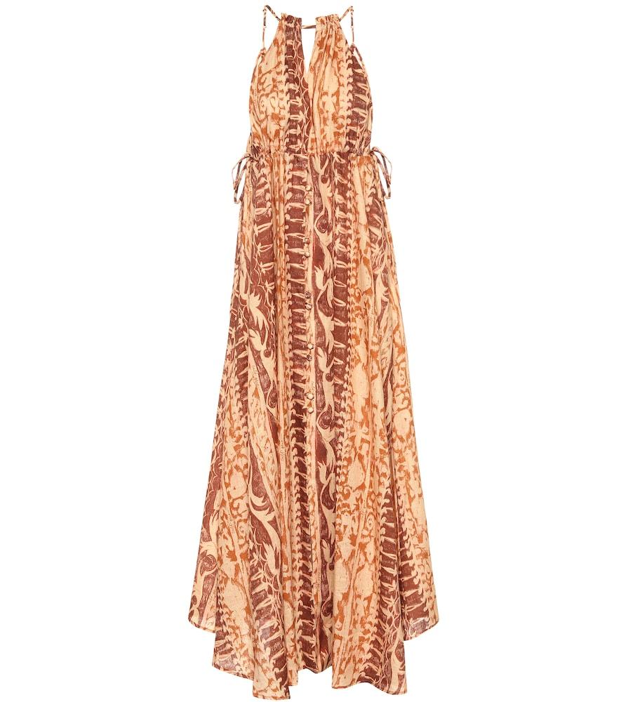 Robe longue Agatha imprimée en lin