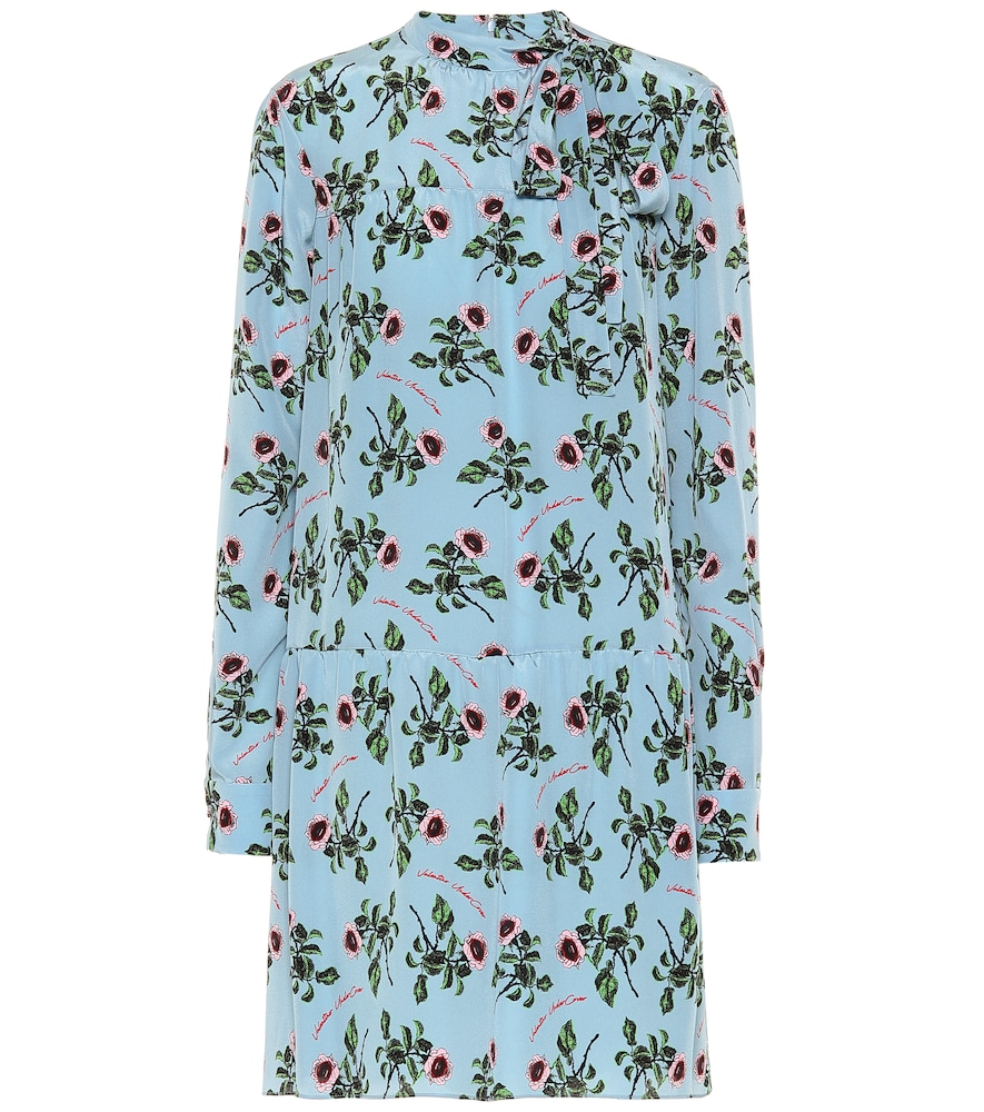 Valentino Floral Silk-CrÊPe Dress In Blue