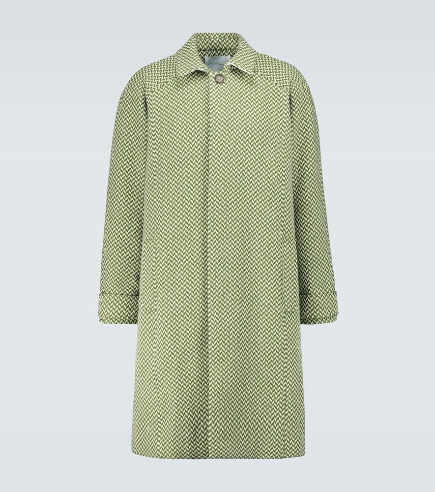 Herringbone wool raglan coat