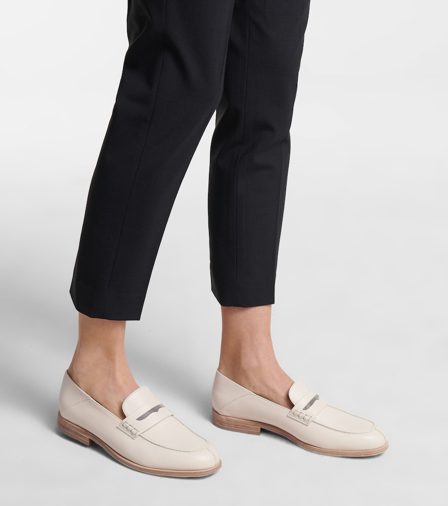BRUNELLO CUCINELLI Leathers EMBELLISHED LEATHER LOAFERS