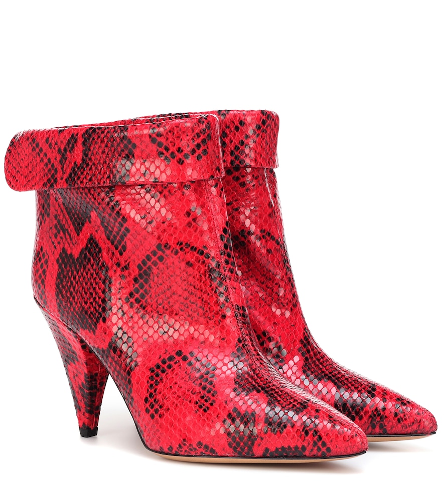Lisbo Snake-Print Booties With Cone Heel in Red