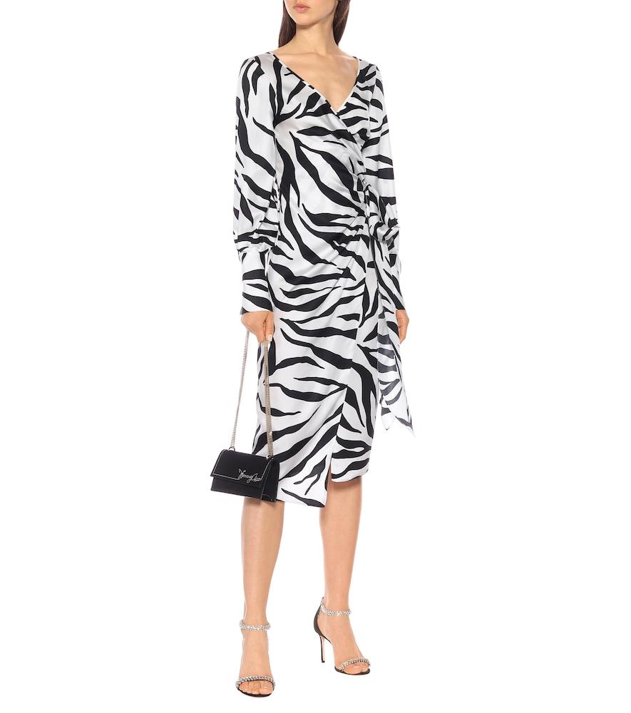 Zebra-print silk twill wrap dress by Oscar de la Renta