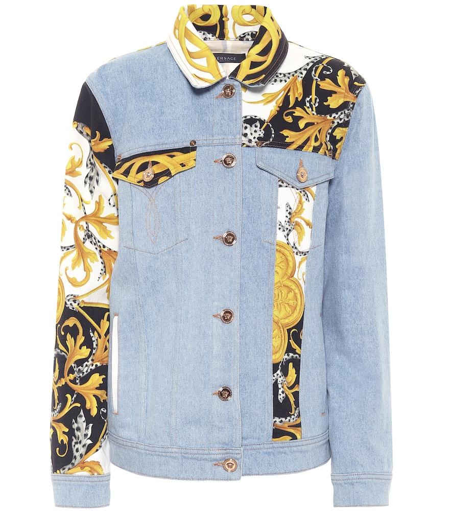 Veste imprimée en jean - Versace - Modalova