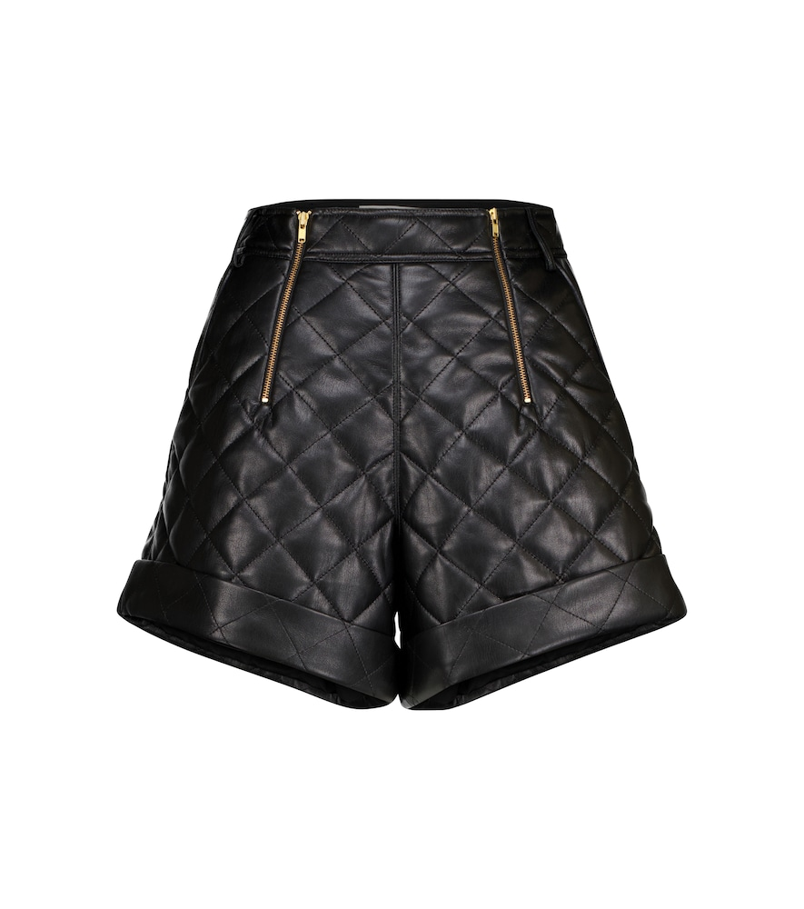 Self-Portrait QUILTED FAUX LEATHER SHORTS