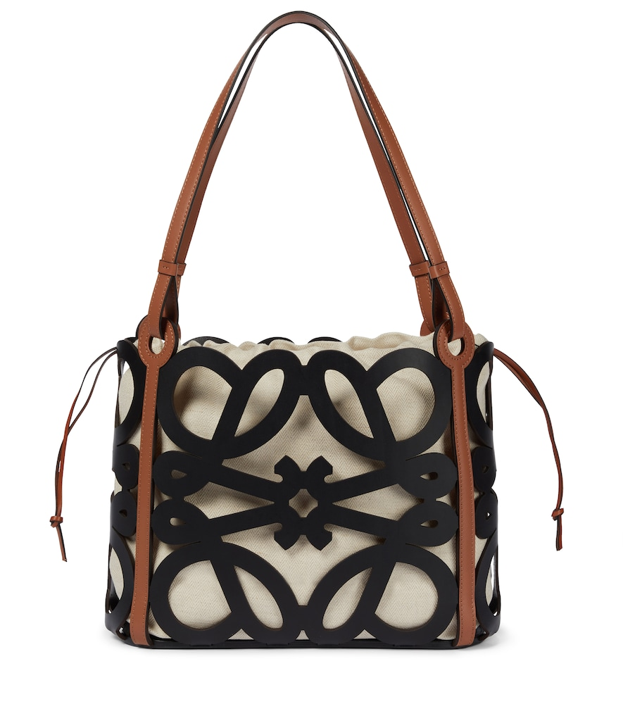 Anagram Small leather and canvas cutout tote