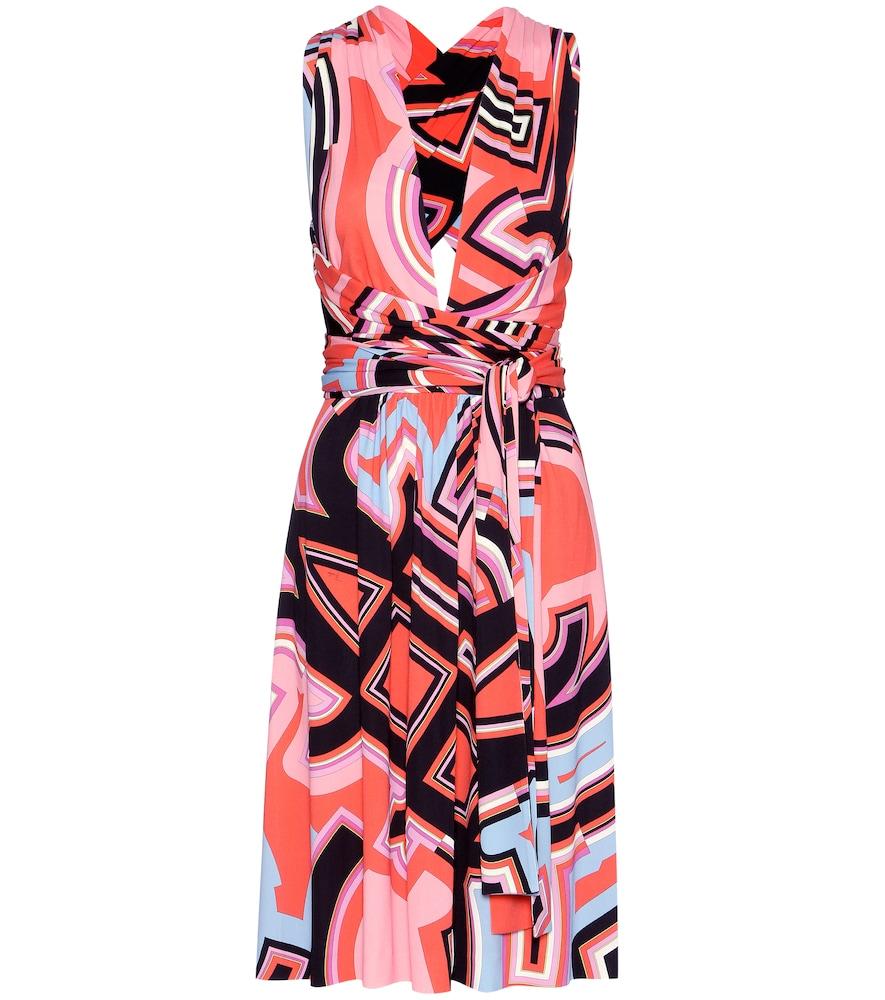 Printed silk-blend jersey dress