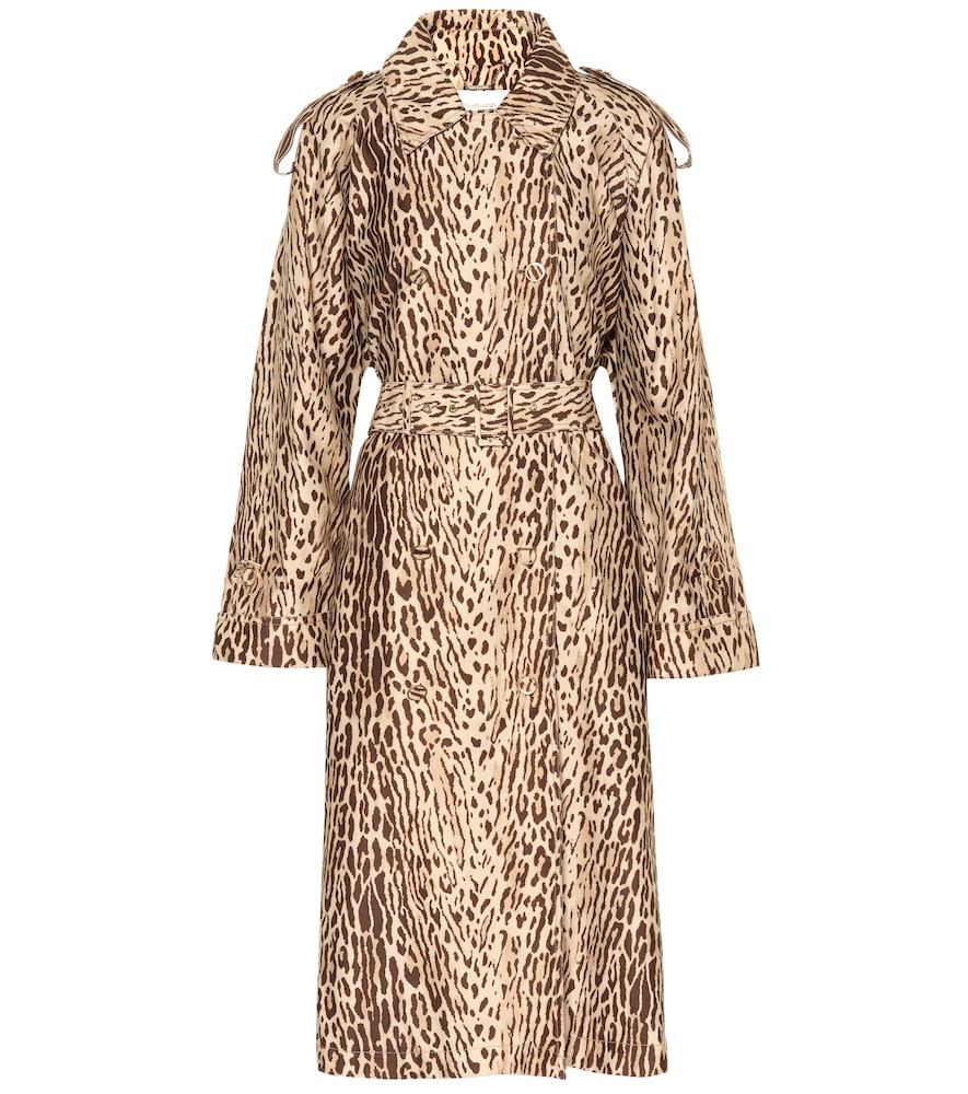 Leopard-print denim trench coat by Zimmermann