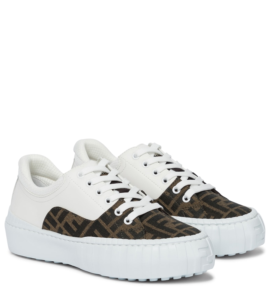 Fendi Leathers FORCE LEATHER AND CANVAS SNEAKERS