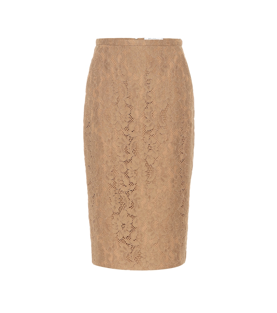 Ragione Lace Midi Pencil Skirt, Beige