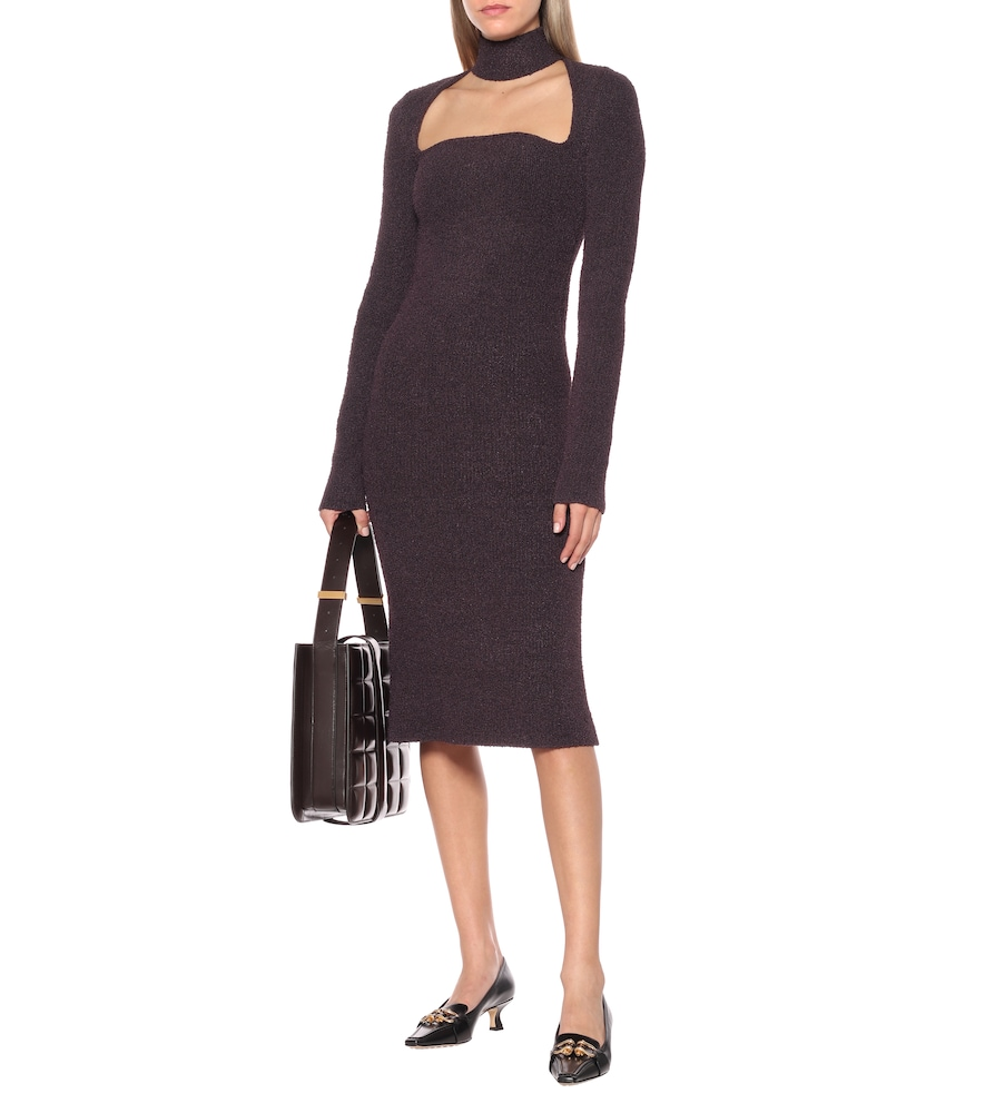 Silk-blend midi dress by Bottega Veneta
