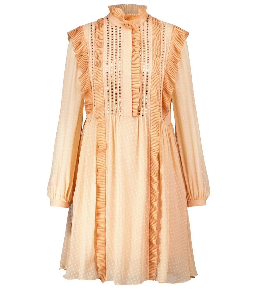Polka-dot ruffle silk minidress