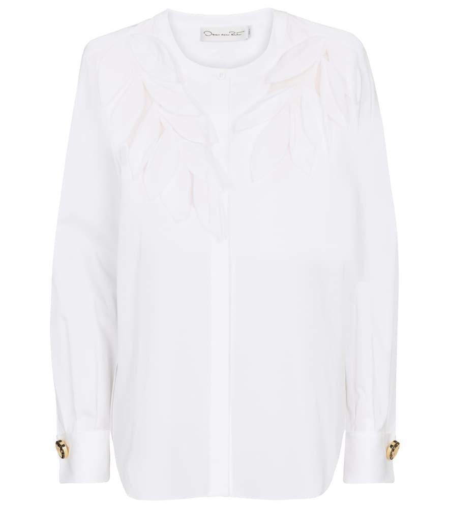 Oscar de la Renta Embellished cotton blouse