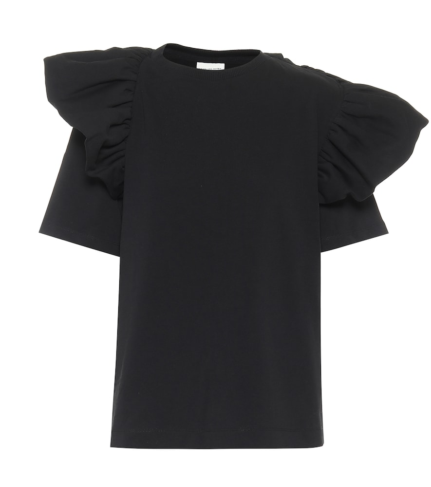 Ruffle-trimmed cotton jersey T-shirt