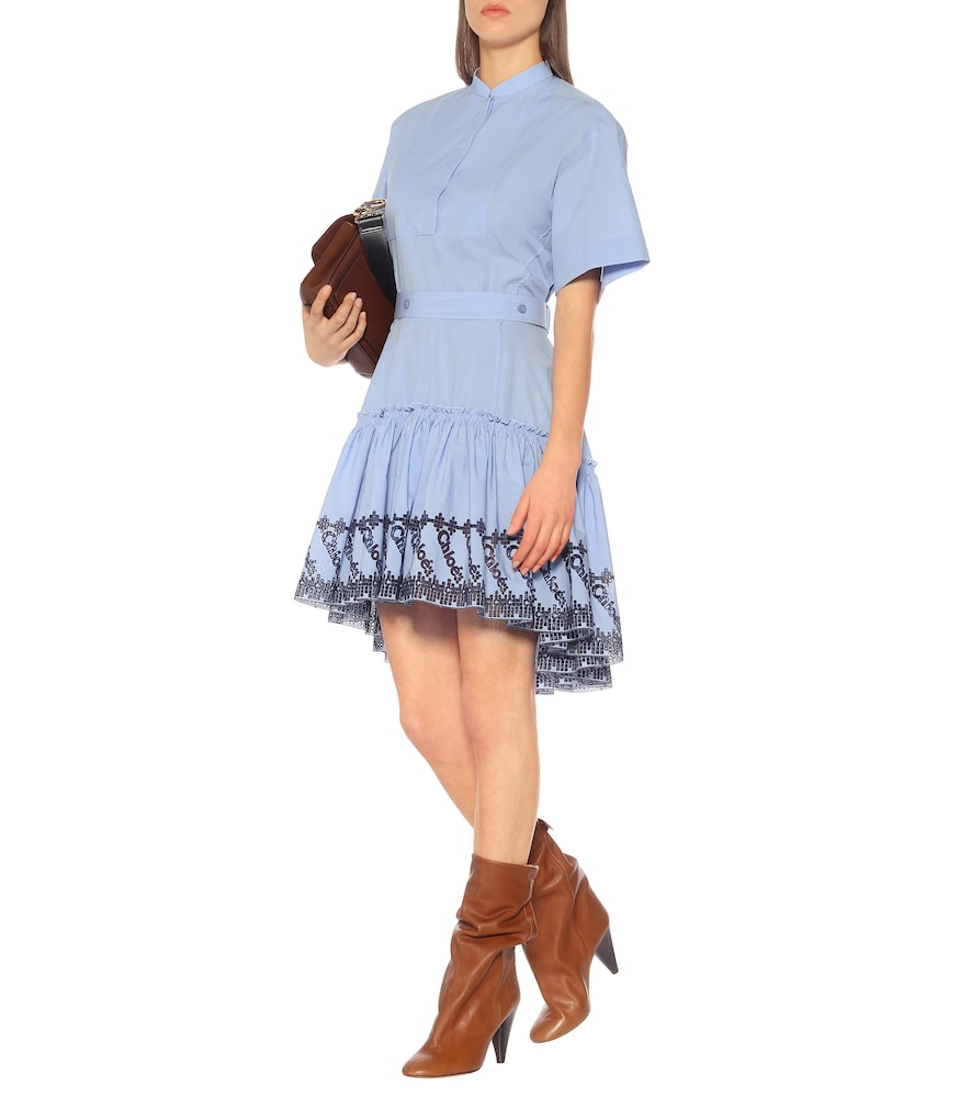 Embroidered cotton poplin dress by Chloé