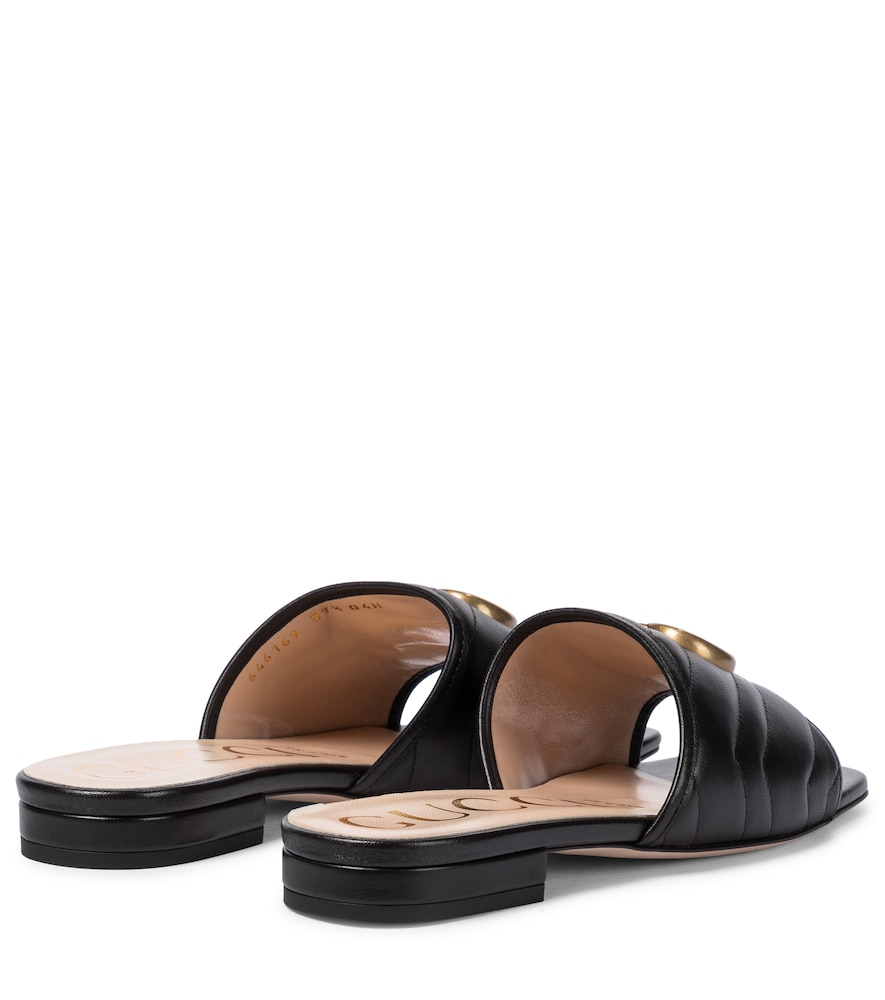 GUCCI Leathers DOUBLE G LEATHER SANDALS