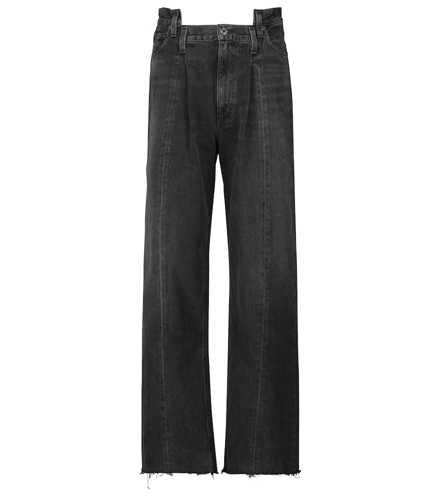 Pieced Angle high-rise wide-leg jeans