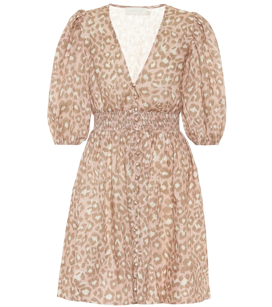 Carnaby leopard-print linen minidress by Zimmermann