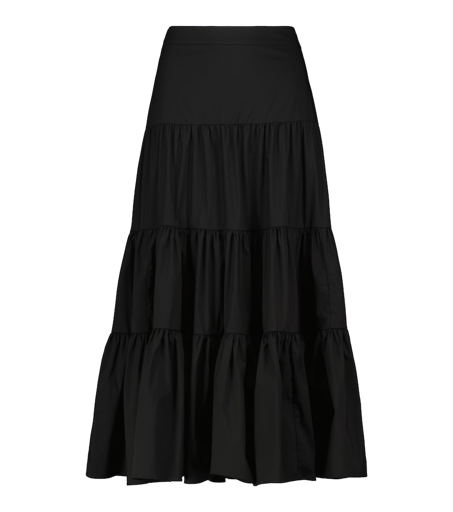 Peasant cotton-blend poplin skirt