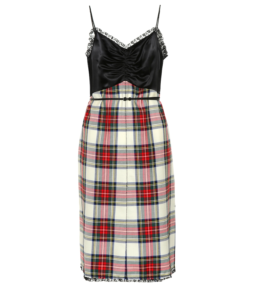 CHECKED WOOL MINIDRESS