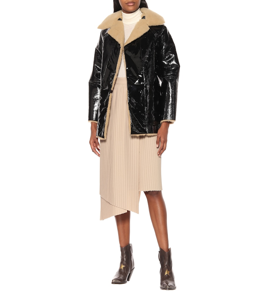Reversible vinyl and shearling coat by KASSL Editions