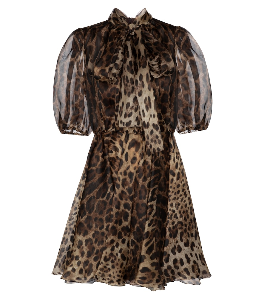 Leopard-print silk organza minidress by Dolce & Gabbana
