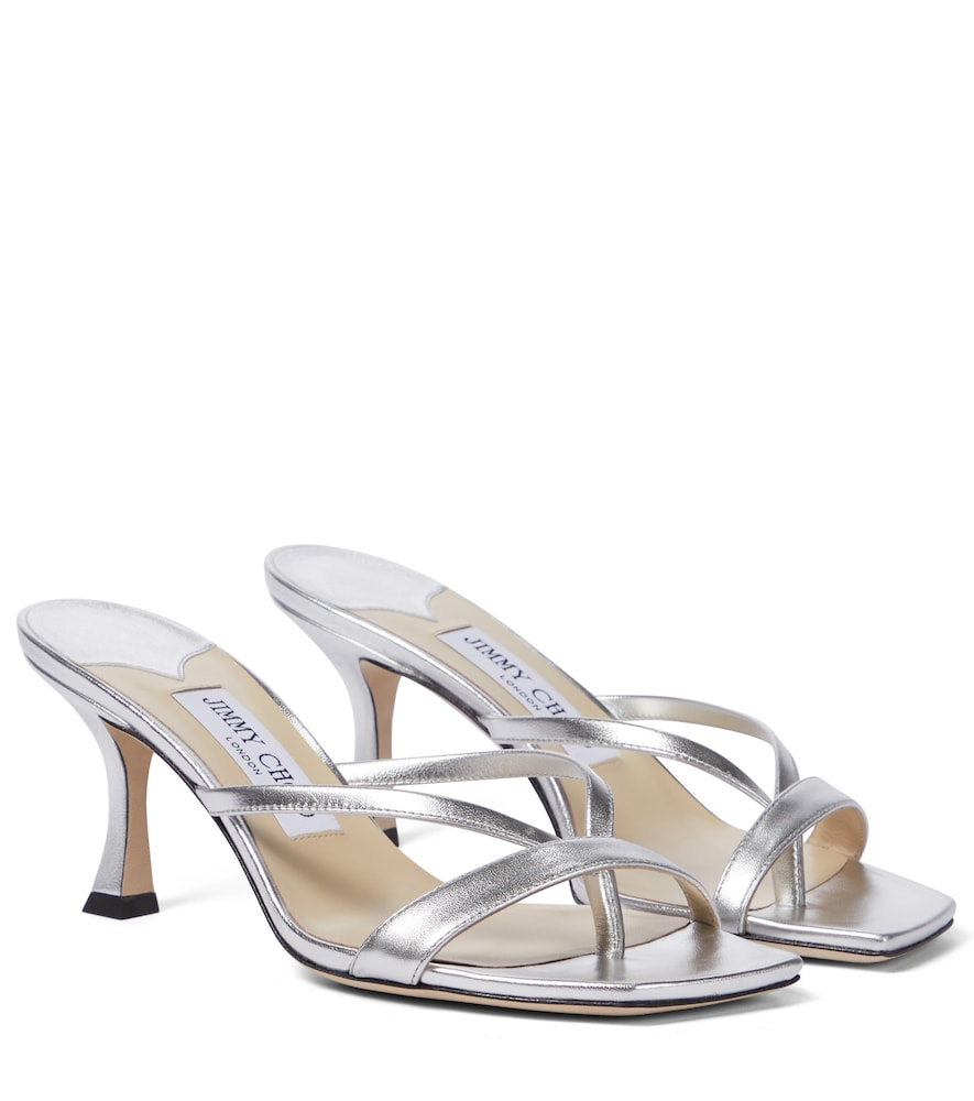 Jimmy Choo MAELIE 70 METALLIC SANDALS