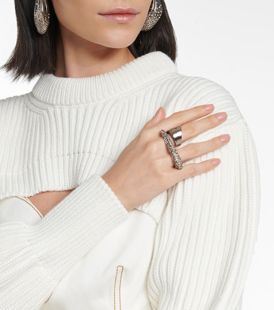 ALEXANDER MCQUEEN Rings EMBELLISHED TWO-FINGER RING