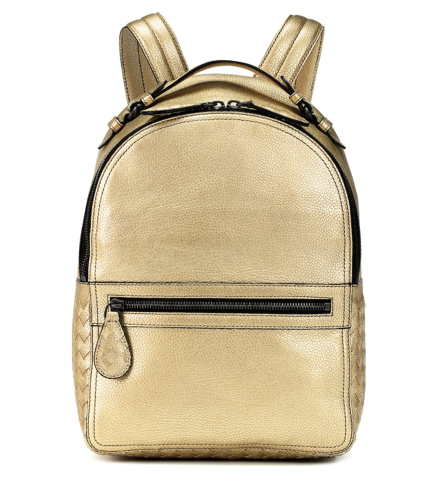 Electre Metallic Leather Backpack in Gold