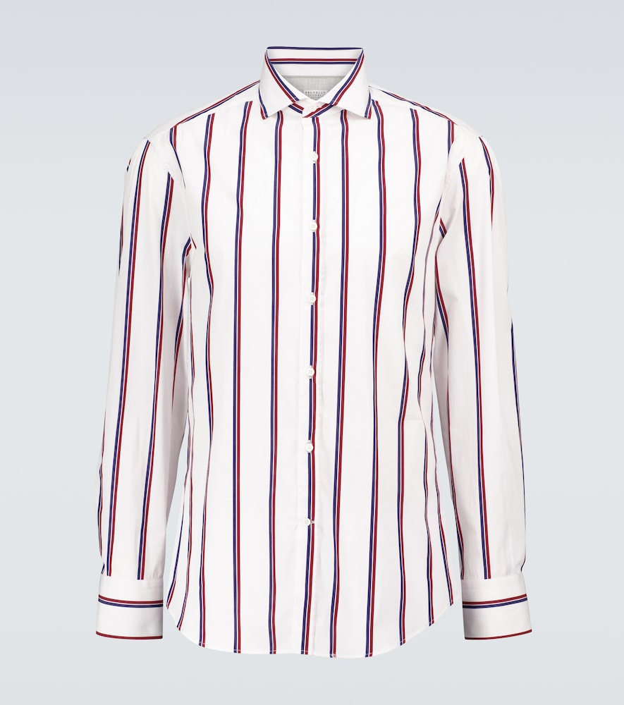 Brunello Cucinelli Striped Cotton Long-sleeved Shirt In Multicoloured